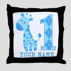 Blue Giraffe First Birthday Throw Pillow