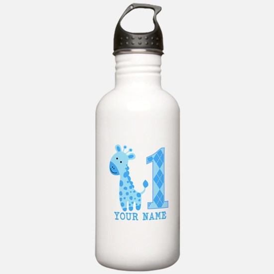 Blue Giraffe First Birthday Water Bottle