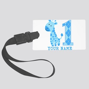 Blue Giraffe First Birthday Large Luggage Tag