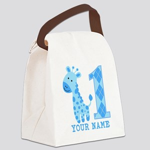 Blue Giraffe First Birthday Canvas Lunch Bag