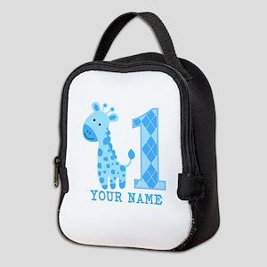 Blue Giraffe First Birthday Neoprene Lunch Bag