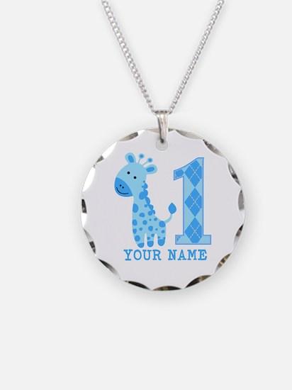 Blue Giraffe First Birthday Necklace Circle Charm