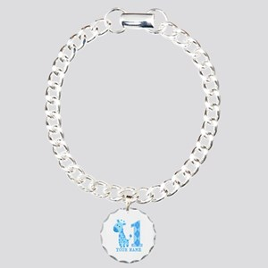 Blue Giraffe First Birthday Charm Bracelet, One Ch