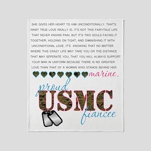 USMC Fiancee Throw Blanket