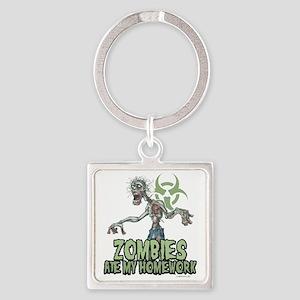 Zombies-Ate-Homework Square Keychain