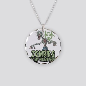 Zombies-Ate-Homework Necklace Circle Charm