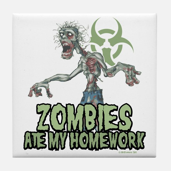 Zombies-Ate-Homework Tile Coaster