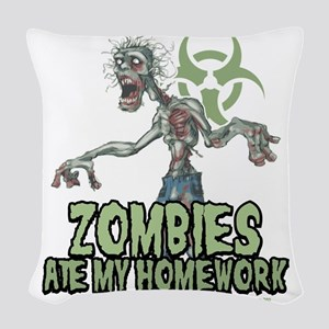 Zombies-Ate-Homework Woven Throw Pillow