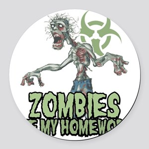 Zombies-Ate-Homework Round Car Magnet