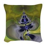Green Goblin Abstract Fractal Woven Throw Pillow