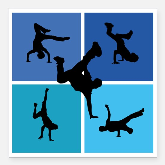 """breakdance Square Car Magnet 3"""" x 3"""""""