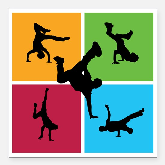 """breakdance8 Square Car Magnet 3"""" x 3"""""""
