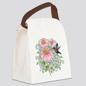 humbrd_floral11x11 Canvas Lunch Bag