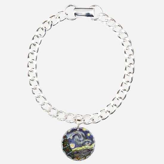 Starry Night/ Peace on E Charm Bracelet, One Charm