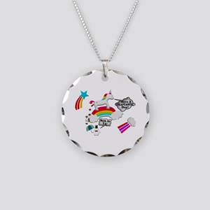 Unicorn And Penguin Craptastic Day Necklace Circle