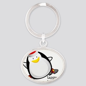 Tappy Holidays Dancing Penguin by Da Oval Keychain