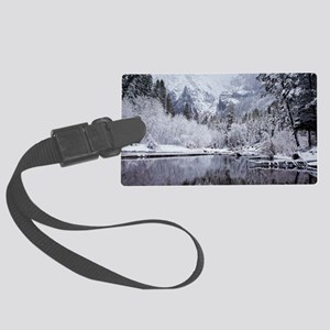 Wintry Cathedral Beach, Yosemite Large Luggage Tag