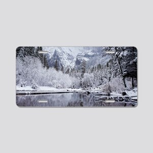 Wintry Cathedral Beach, Yos Aluminum License Plate