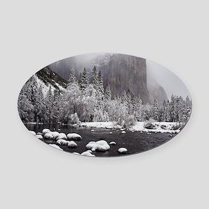 Winter Storm Over El Capitan, Yose Oval Car Magnet