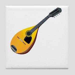 Mandolin (black) Tile Coaster