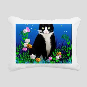 Tuxedo Cat among the Flo Rectangular Canvas Pillow
