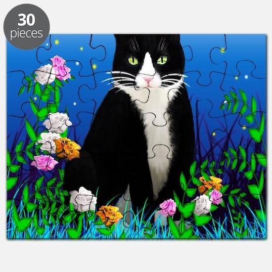 Tuxedo Cat among the Flowers Puzzle
