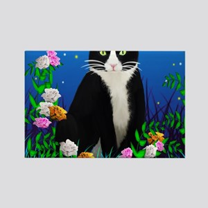 Tuxedo Cat among the Flowers Rectangle Magnet