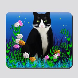 Tuxedo Cat among the Flowers Mousepad