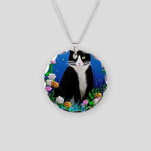 Tuxedo Cat among the Flowers Necklace Circle Charm