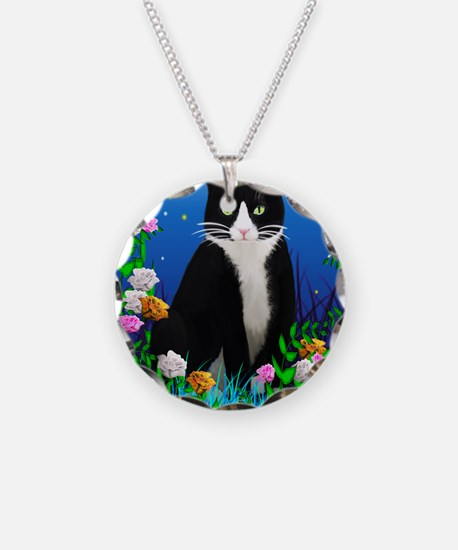 Tuxedo Cat among the Flowers Necklace