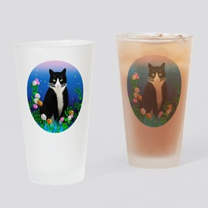 Tuxedo Cat among the Flowers Drinking Glass