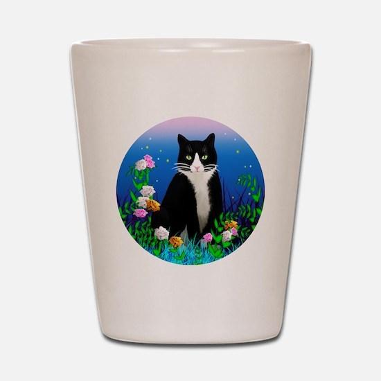 Tuxedo Cat among the Flowers Shot Glass