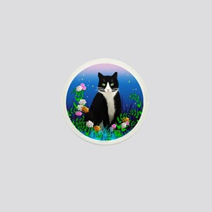 Tuxedo Cat among the Flowers Mini Button