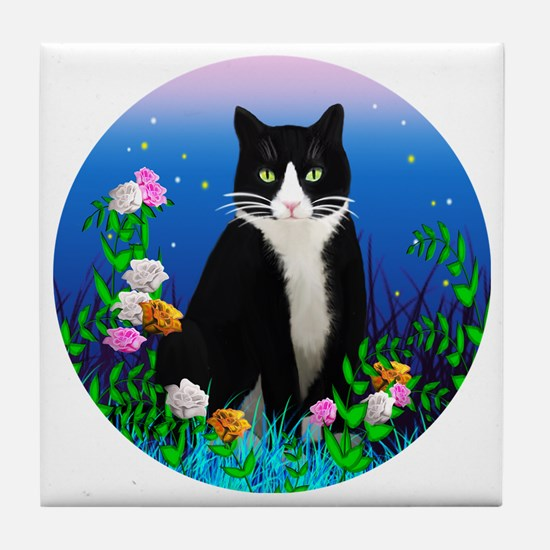 Tuxedo Cat among the Flowers Tile Coaster