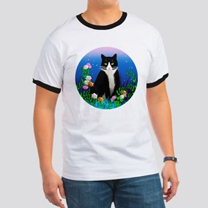 Tuxedo Cat among the Flowers Ringer T