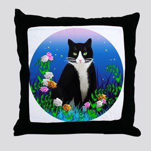 Tuxedo Cat among the Flowers Throw Pillow