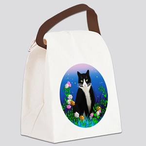 Tuxedo Cat among the Flowers Canvas Lunch Bag