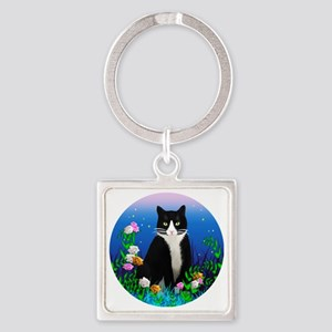 Tuxedo Cat among the Flowers Square Keychain