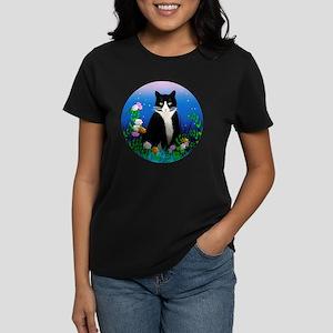 Tuxedo Cat among the Flowers Women's Dark T-Shirt