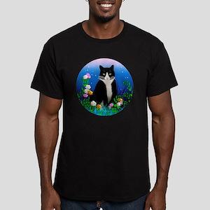 Tuxedo Cat among the F Men's Fitted T-Shirt (dark)