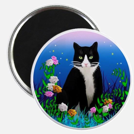 Tuxedo Cat among the Flowers Magnet