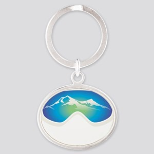 goggle white Oval Keychain