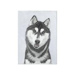 Siberian Husky (Black and White) 5'x7'Area Rug