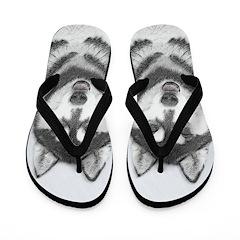 Siberian Husky (Black and White) Flip Flops