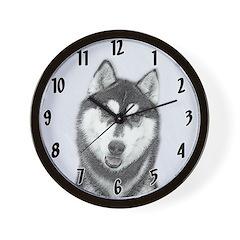 Siberian Husky (Black and White) Wall Clock