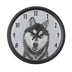 Siberian Husky (Black and White) Large Wall Clock
