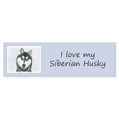 Siberian Husky (Black and White) Sticker (Bumper)