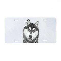 Siberian Husky (Black and W Aluminum License Plate