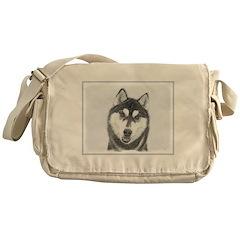 Siberian Husky (Black and White) Messenger Bag