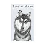 Siberian Husky (Black and Whit Sticker (Rectangle)